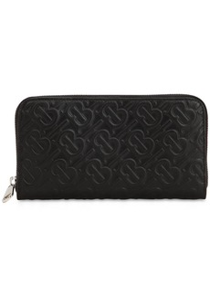 Burberry Logo Embossed Leather Wallet