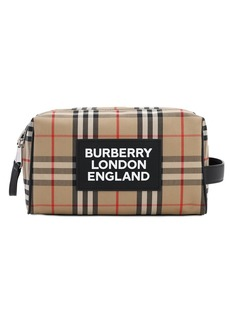 Burberry Logo Hart Canvas Check Toiletry Bag