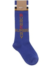 Burberry Logo Intarsia Cotton Blend Knit Socks