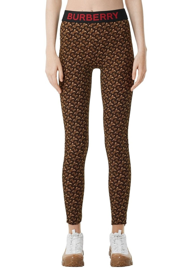 Burberry Logo Monogram Print Lycra Leggings