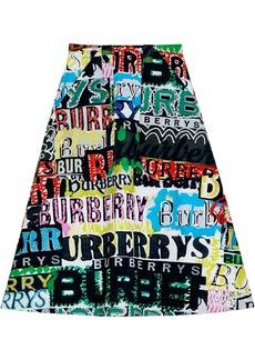 Burberry Logo Print Cotton A-line Skirt