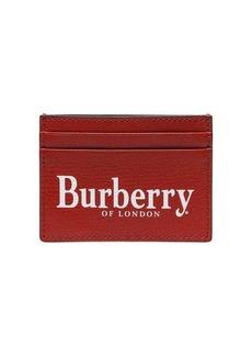 Burberry Logo Print Leather Card Case