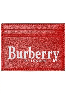 Burberry Logo Print Leather Card Case