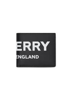 Burberry Logo Print Leather International Bifold Coin Wallet