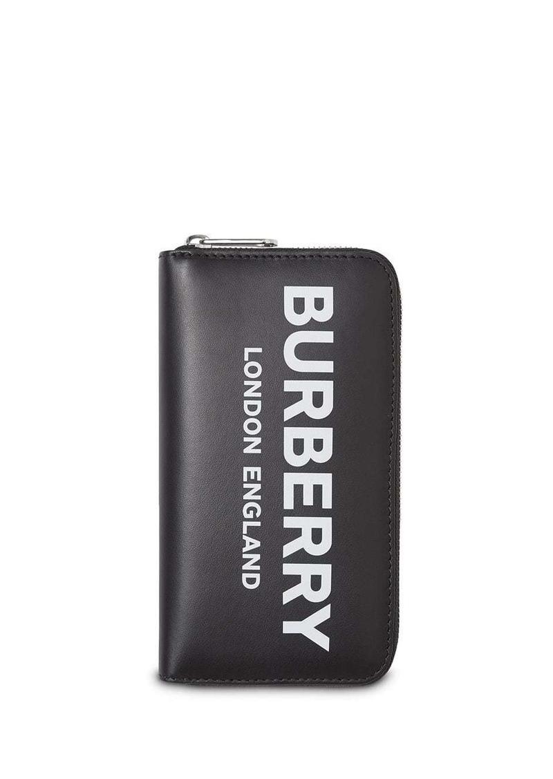 Burberry Logo Print Leather Ziparound Wallet