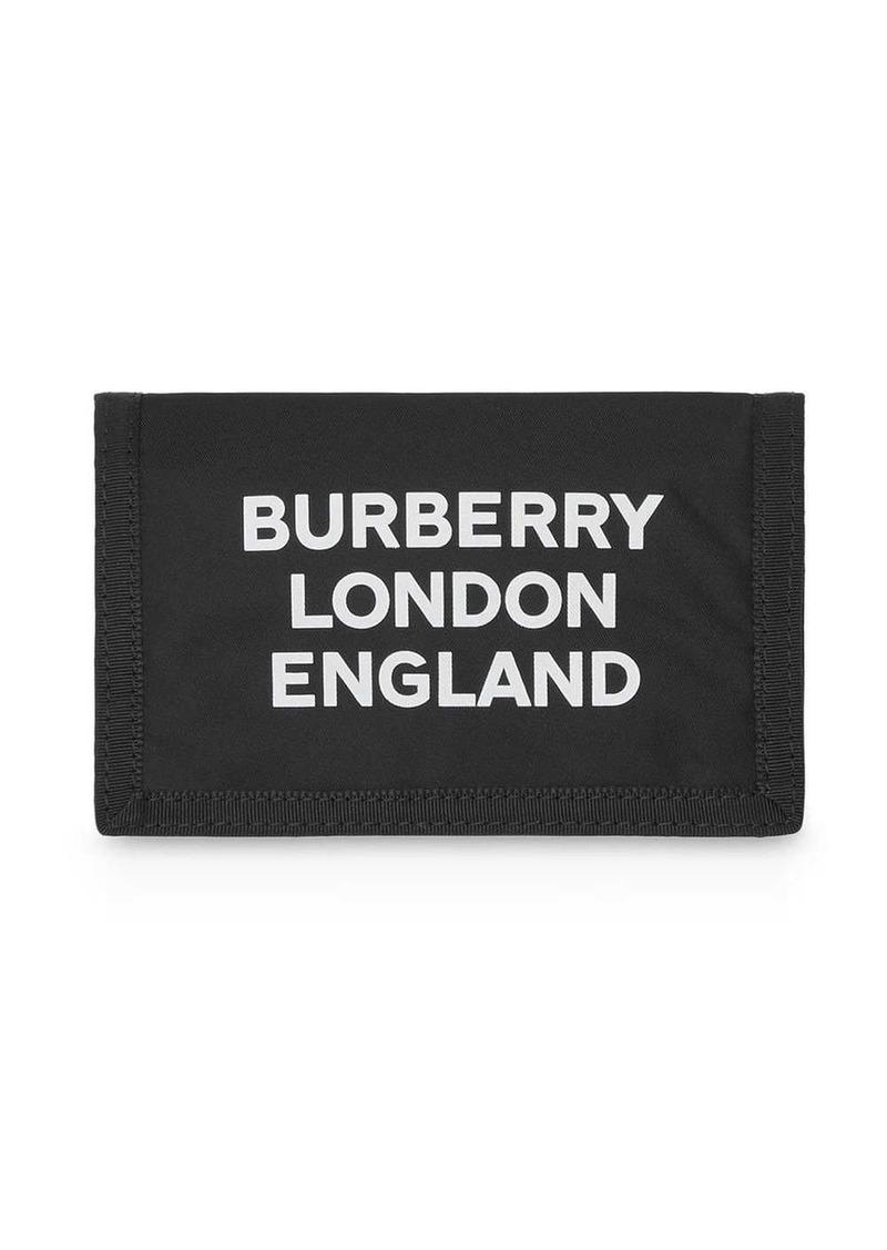 Burberry Logo Print Nylon Travel Wallet