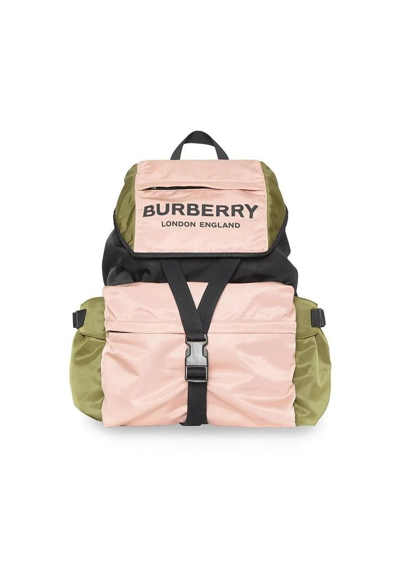 Burberry Logo Print Tri-Tone Nylon Backpack