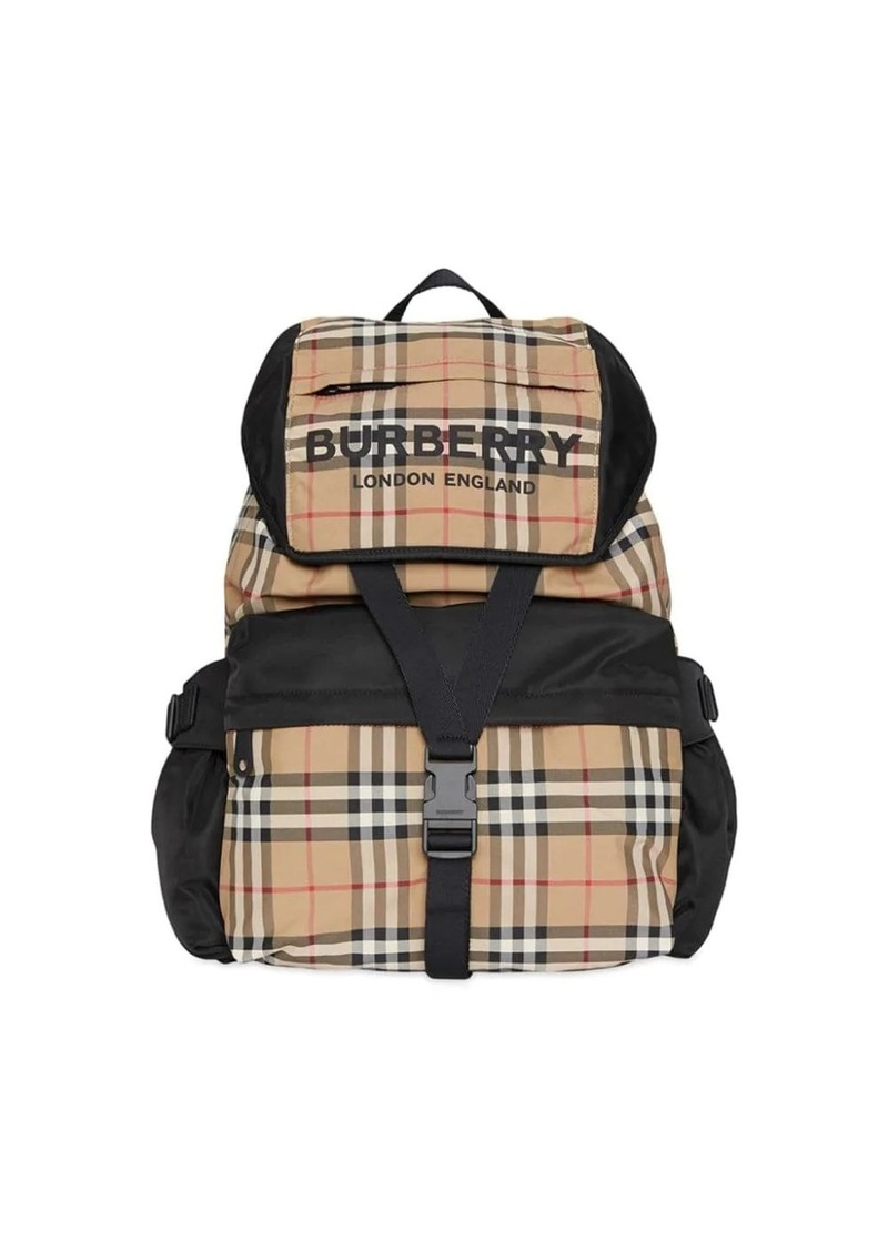 Burberry Logo Print Vintage Check Backpack