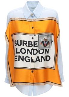 Burberry Logo Printed Scarf Silk Twill Shirt