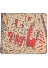 Burberry london print leather international bifold wallet