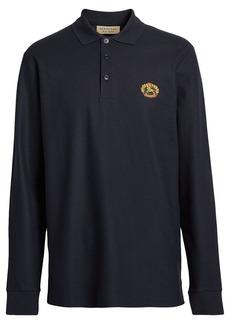 Burberry Long-sleeve Archive Logo Cotton Piqué Polo Shirt