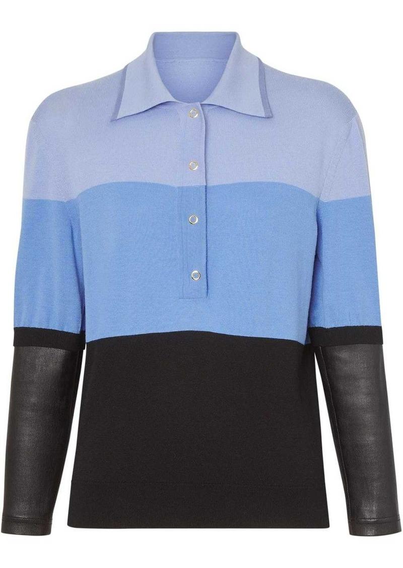Burberry long-sleeve leather detail polo shirt