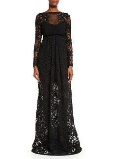 Burberry Long-Sleeve Macrame Gown  Black