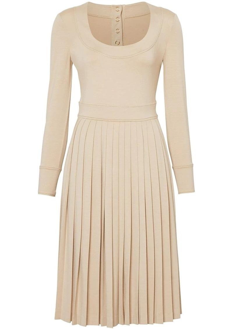 Burberry long sleeve pleated dress