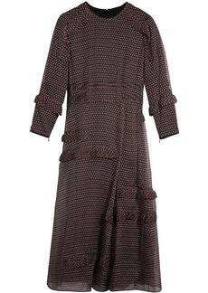 Burberry Long-sleeve Ruffle Detail Spot Print Silk Dress