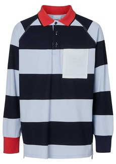 Burberry Long-sleeve Striped Cotton Piqué Polo Shirt