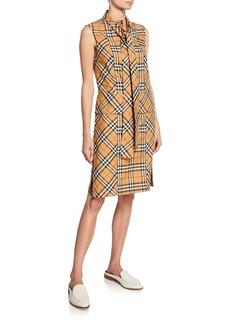 Burberry Luna Tie-Neck Check Dress