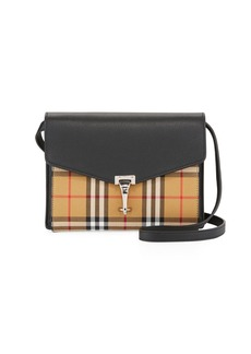 Burberry Macken Small Check/Leather Shoulder Bag