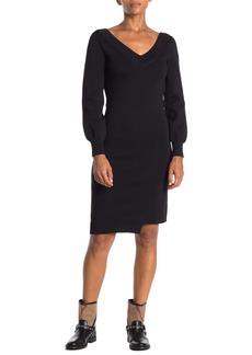 Burberry Marro V-Neck Asymmetrical Hem Knit Sweater Dress
