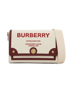 Burberry Md Note Canvas & Leather Bag