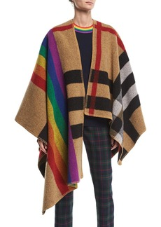 Burberry Mega Rainbow Check Cape