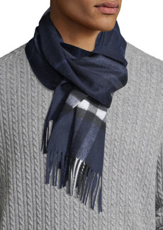 Burberry Men's Giant-Check Cashmere Scarf  Blue