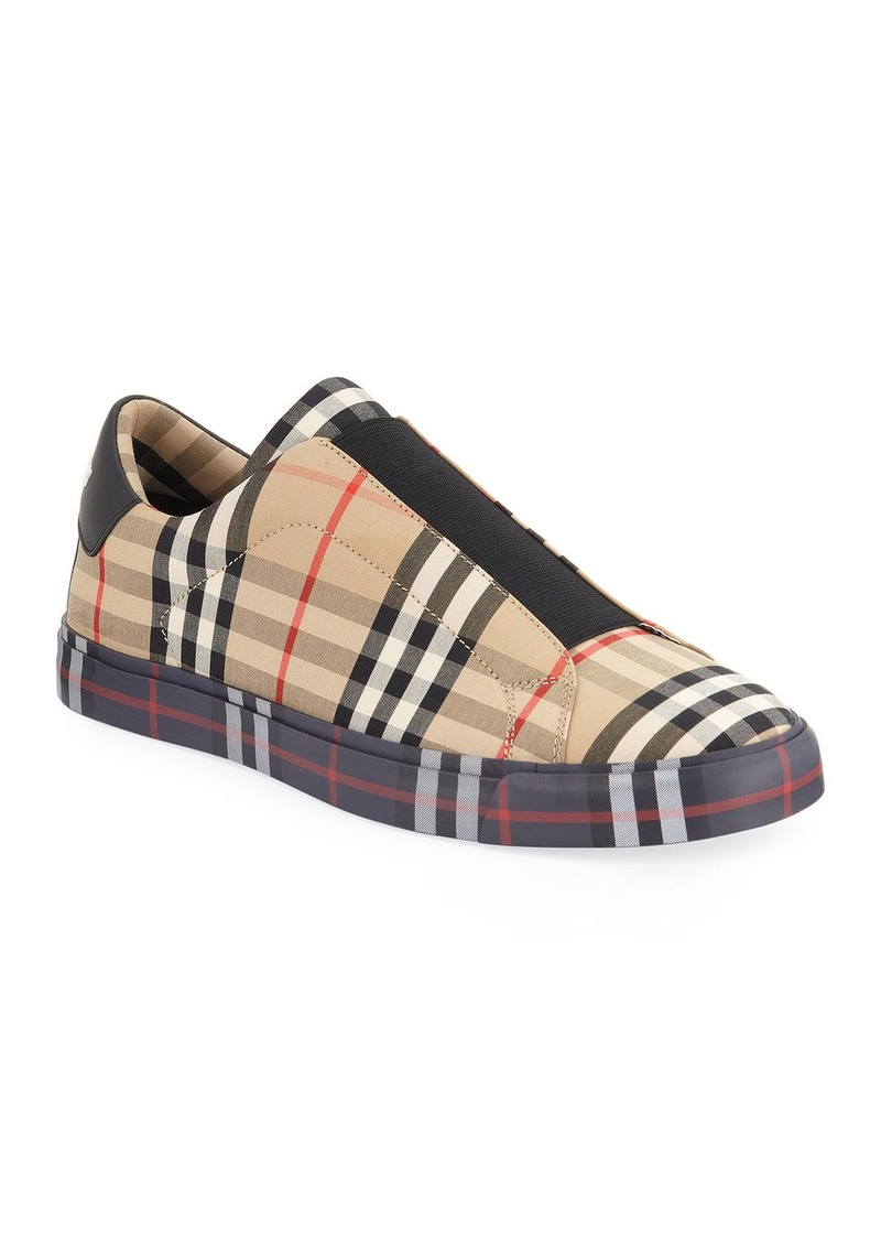 Burberry Men's Markham All Check Slip-On Low-Top Sneakers