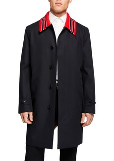 Burberry Men's Pimlico Knit-Collar Rain Coat