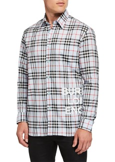Burberry Men's Sandor Check Long-Sleeve Sport Shirt