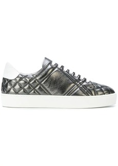 Burberry Metallic Check-quilted Leather Sneakers