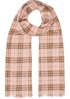Burberry Metallic Check Wool Silk Blend Scarf