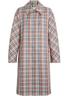 Burberry Micro Check Silk Blend Car Coat