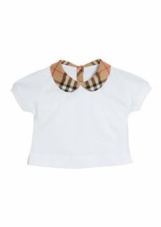 Burberry Mini Della Jersey Top w/ Check Collar  Size 6M - 2