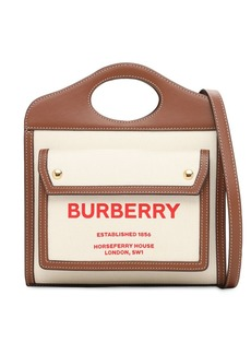 Burberry Mini Pocket Canvas & Leather Bag