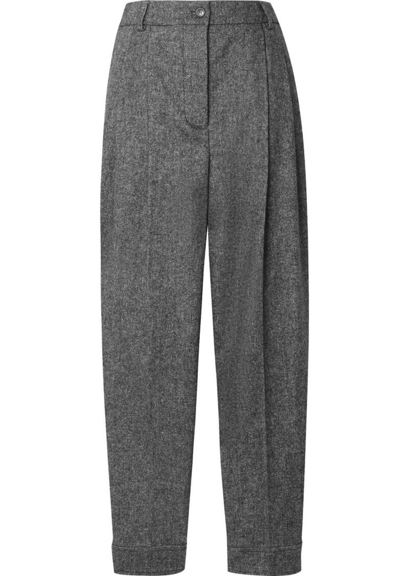 Burberry Mélange Wool-blend Tapered Pants