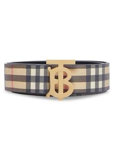 Burberry Monogram Hand-Painted Vintage Check E-Canvas Leather Belt