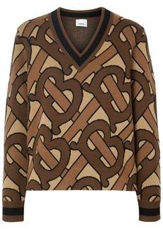 Burberry monogram intarsia v-neck jumper
