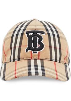 Burberry monogram motif check print baseball cap