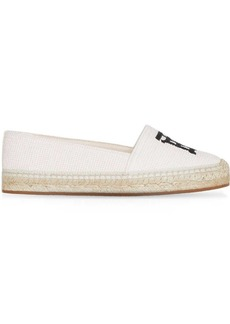 Burberry Monogram Motif Cotton and Leather Espadrilles