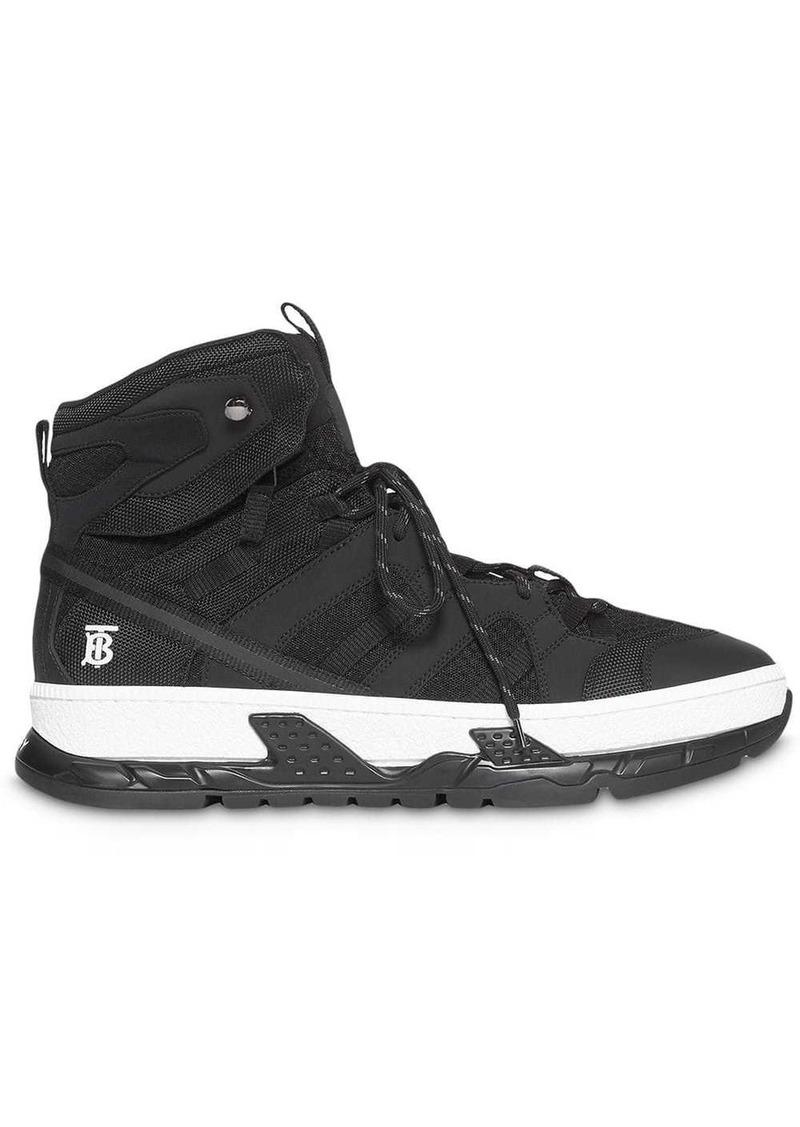 Burberry Monogram Motif Mesh and Nubuck High-top Sneakers