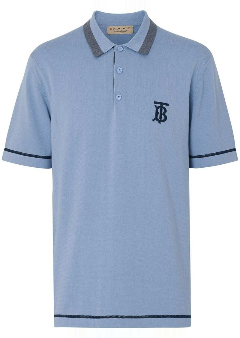 Burberry Monogram Motif Tipped Cotton Jersey Polo Shirt