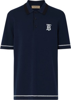 Burberry Monogram Motif Tipped Cotton Jersey Polo Shirt