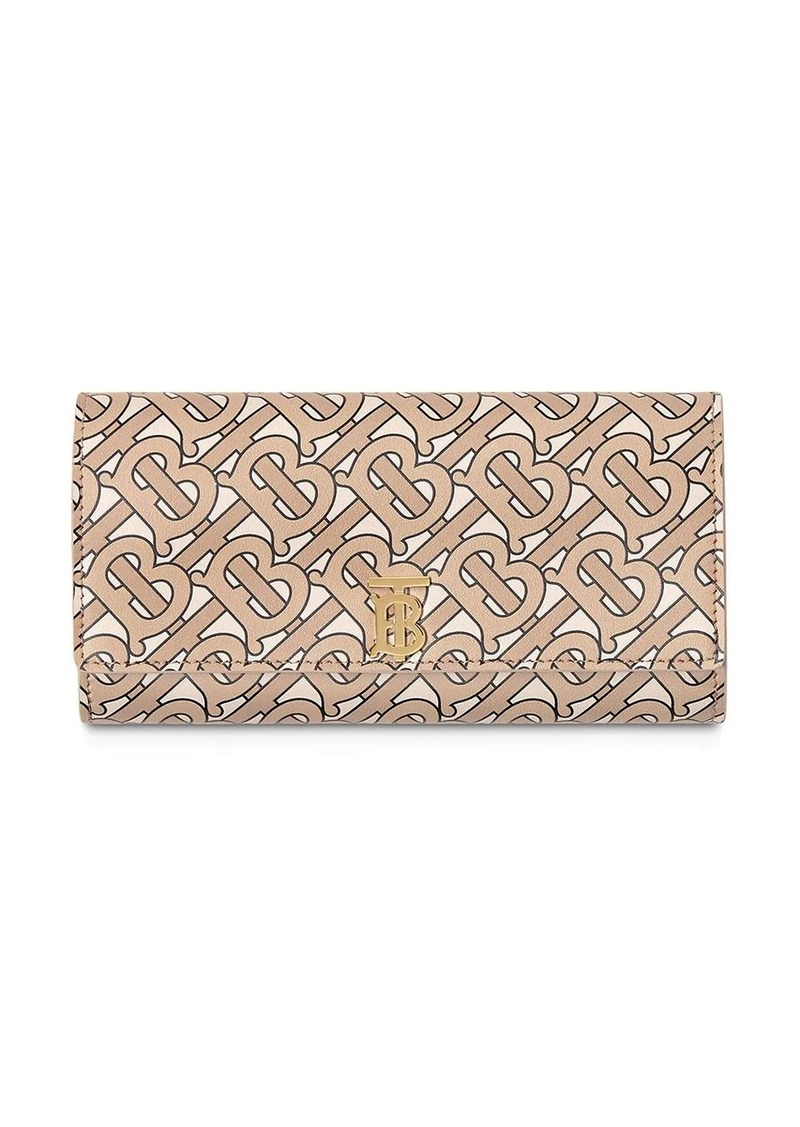 Burberry Monogram Print Leather Continental Wallet