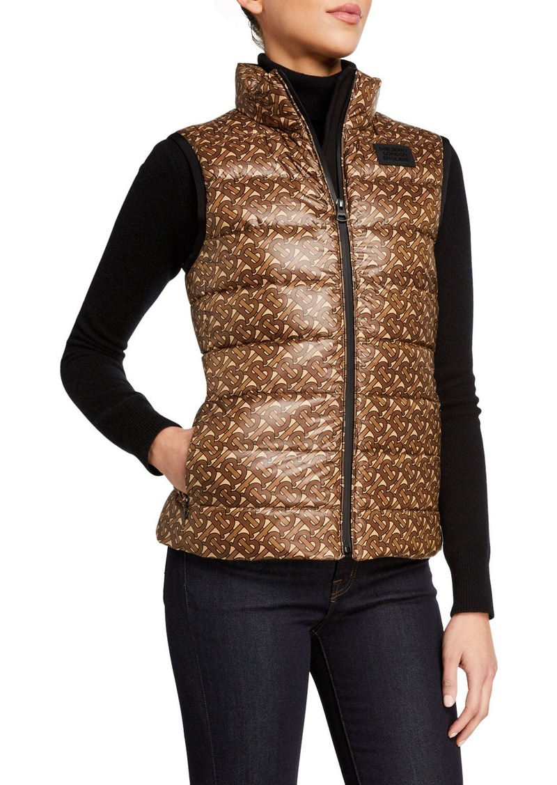 Burberry Queensferry Monogram Print Quilted Vest