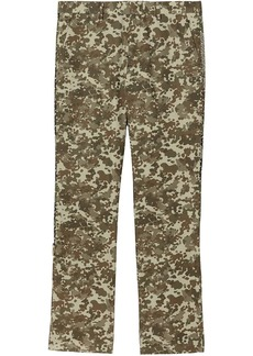 Burberry Monogram Print Stripe Detail Cotton Trousers