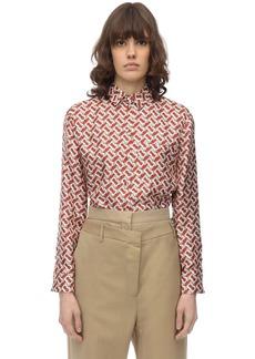 Burberry Monogram Printed Silk Twill Shirt