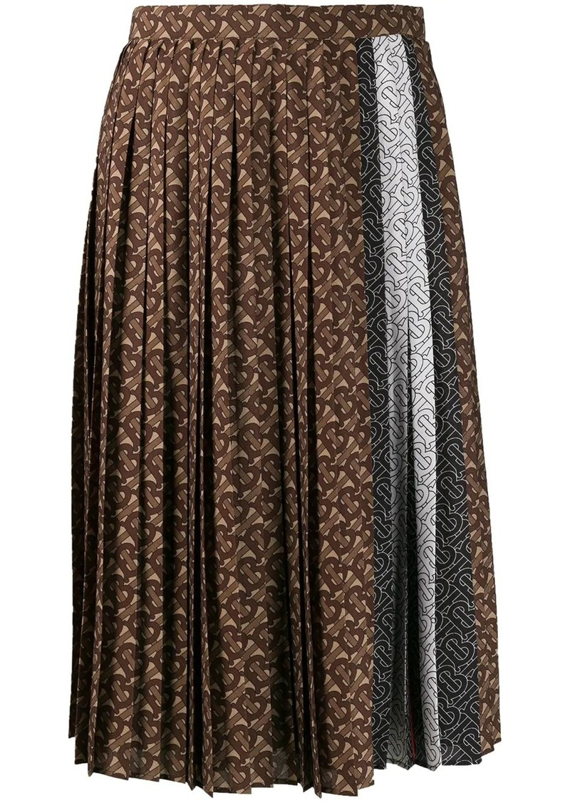 Burberry monogram stripe pleated skirt