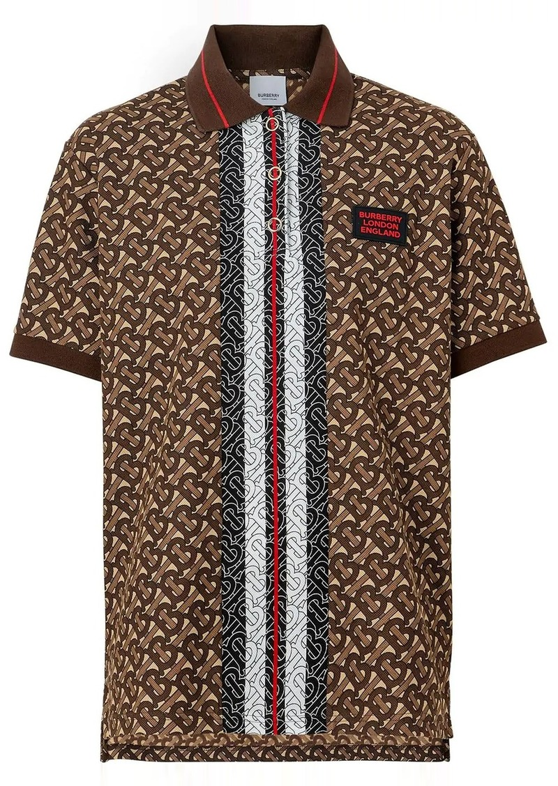 Burberry Monogram Stripe Print Cotton Oversized Polo Shirt