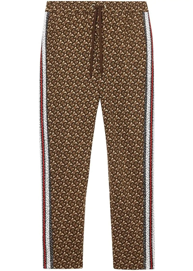 Burberry Monogram Stripe Print Cotton Trackpants