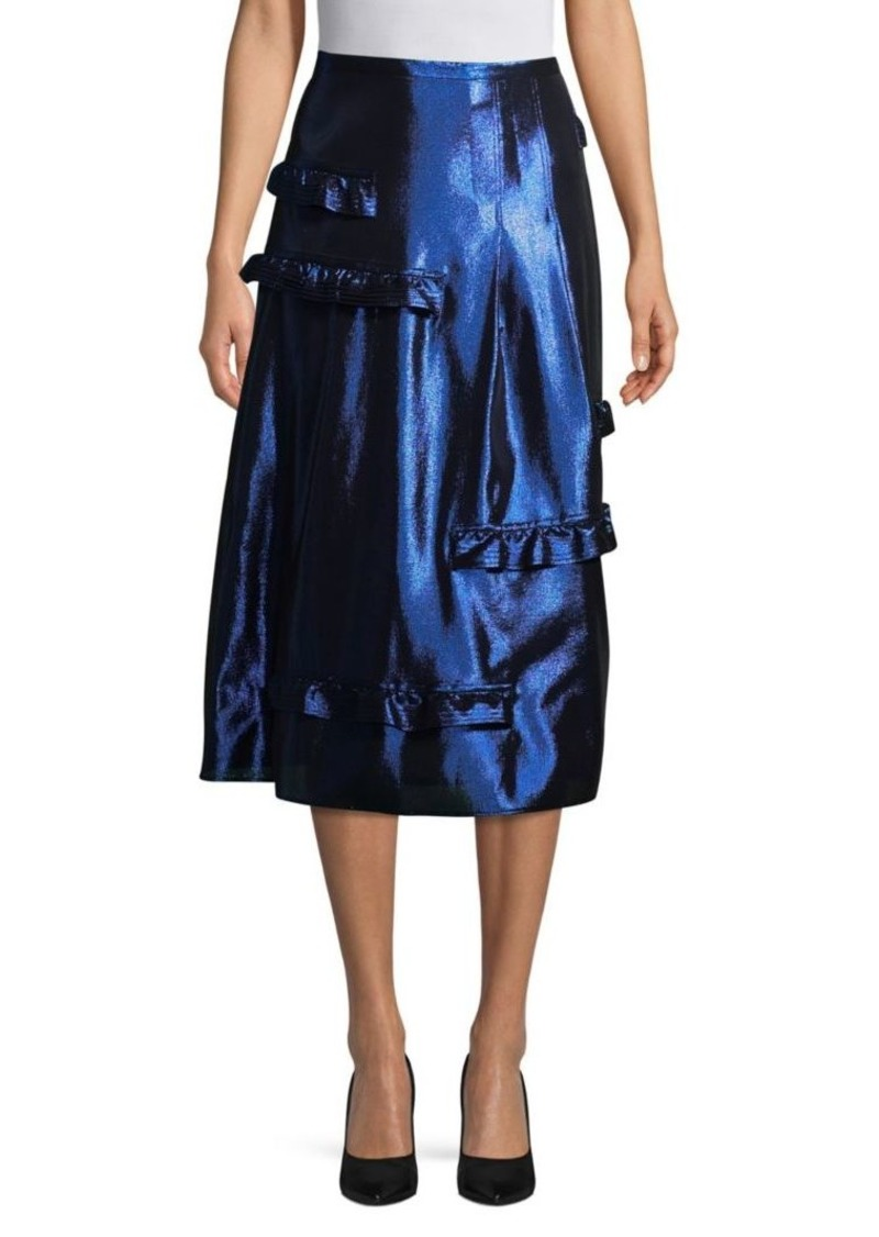 Burberry Mulberry Metallic A-Line Skirt